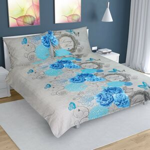 Bellatex Bavlněné povlečení Růže modrá, 240 x 200 cm, 2 ks 70 x 90 cm