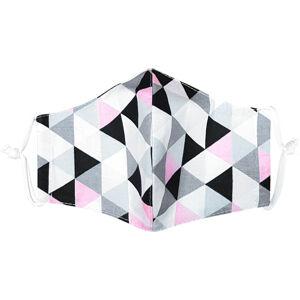 Ústní bavlněná rouška Triangle růžovošedá - děti 3 - 6 let, XS (3 - 6 let)